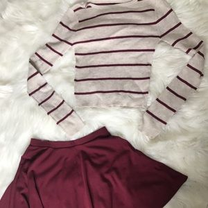 Sweaters - Striped Sweater with Maroon Skirt